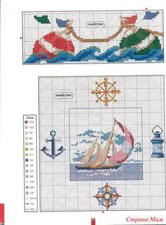 Несколько схем для небольших сюжетов о море и для летних открыток