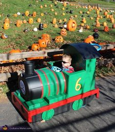 My 2 year old son, Owen, Is obsessed with trains. He loves all trains but is especially interested in Thomas and Friends. When I asked him if he wanted to be a train conductor for halloween, he yelled Percy! Thomas The Train Costume, Thomas The Train Birthday Party, Trains Birthday Party, Train Party, Car Party, 3rd Birthday, Halloween Train, Holidays Halloween, Halloween Ideas