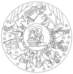 Nativity Mandala Coloring Pages Nativity Coloring Pages, Bible Coloring Pages, Mandala Coloring Pages, Christmas Coloring Pages, Animal Coloring Pages, Coloring Pages For Kids, Coloring Books, Colouring, Free Coloring