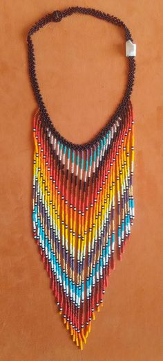This Pin was discovered by Jan Seed Bead Jewelry, Bead Earrings, Beaded Jewelry, Handmade Jewelry, Jewellery, African Necklace, African Jewelry, Beaded Necklace Patterns, Necklace Designs