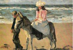 ISAAC ISRAELS ART DONKEY BURRO ART POSTCARD - GIRL RIDING DONKEY BEACH | eBay