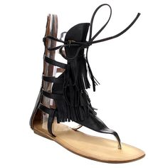 Liliana Avis-4 Women's Flat Lace Up 3 Layers Fringe Flip Flop Gladiator Sandal ^^ Hurry! Check out this great product : Lace up sandals