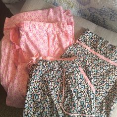 """Set Of 2 Lizwear Pajama Bottoms 100% cotton and soft. Both are Larges.  Black floral pair has been wore three times and is approximately 30"""" in length with an inseam of 19.  The pink floral has been worn once and is approximately 32"""" in length with an inseam of 20"""".  Both have real tie waist with a ribbon to tie them.  Both have pockets in the front of the pants.  Very good condition. Size says L 14/16 on the pajama bottoms. Lizwear Intimates & Sleepwear Pajamas"""