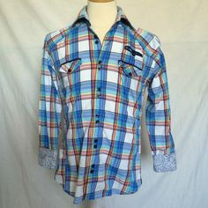 Bertigo Shirt Sz 3 Medium Plaids & Checks Multicolor Contrasting Flip Cuff Mens | eBay