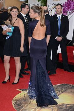 Back shot of Adèle Exarchopoulos in Miu Miu at the Golden Globes.