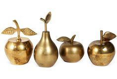 Vintage Brass Fruit Bells, I have a wierd thing for bells. Weird Furniture, Love Bells, Donor Wall, Golden Apple, Ring My Bell, Touch Of Gold, Orange, Decoration, Decorative Bells
