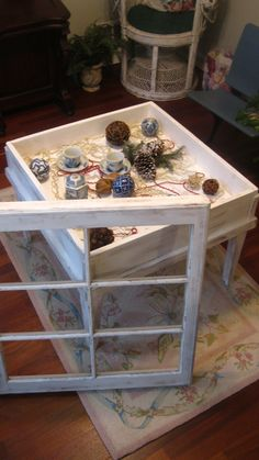 old window idea shadow box table