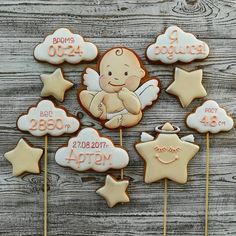 #ирамалышам26#ираангелочек26 Cookies For Kids, Baby Cookies, Cupcake Cookies, First Birthday Cookies, Baby First Birthday, Birthday Cake, Creative Cakes, Royal Icing, Baby Shower Parties