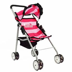 Doll Strollers - My First Doll Stroller with Basket in Bright Pink Stripes >>> Details can be found by clicking on the image.