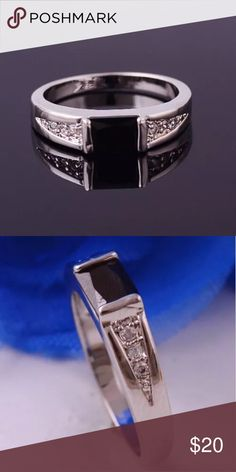 """14K white Gold Filled Ring size 9 material :14k white gold filled  size :9 mainstone :black Rhinestone stone size : 8mm*5mm(0.31""""*0.19"""") condition :100% brand new Accessories Jewelry"""