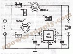 Voltage regulator IC's, with 3 pins, from and series are excellent for usage in voltage regulator circuits. If you need higher currents, up Dc Circuit, Circuit Design, Circuit Diagram, Power Supply Design, Voltage Divider, Cnc Software, Voltage Regulator, Electrical Engineering, Electronics Projects