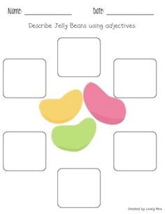 This worksheet helps teach students how to use adjectives and forces them to be creative and come up with lots of different describing words. Teaching Writing, Writing Activities, Classroom Activities, Easter Activities, Teaching Ideas, Classroom Ideas, 2nd Grade Writing, School Tool, School Worksheets