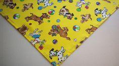 Dog Bandana Tie On Slide On Yellow Dogs Balls Pet Apparel Scarf XS,S,M,L