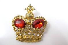Vintage Crown Brooch Large Coronation King by TonettesTreasures