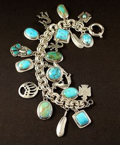 Southwestern silver and turquoise charm bracelet