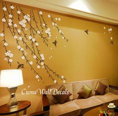 cherry blossom birds nursery wall decals tree vinyl wall by cuma, via Etsy.