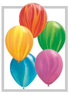 The Rainbow Superagate Assortment Latex Balloons are affordable party decorations. Create a balloon bouquet by using the Rainbow Superagate Latex balloons. Marble Balloons, Round Balloons, Rainbow Balloons, Multicolor Wedding, Qualatex Balloons, Balloon Company, Balloon Bouquet, Colorful Party, Tk Maxx