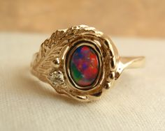 Boulder Opal Ring Fiery 14k Yellow Gold Diamond Accent Handmade Artisan Made by cutterstone on Etsy