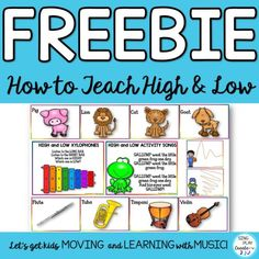 Teach high and low with these interactive free resources from Sing Play Create. Preschool Music, Teaching Music, Kindergarten Music, Movement Activities, Music Activities, Bean Bag Activities, General Music Classroom, Online Music Lessons, Music And Movement
