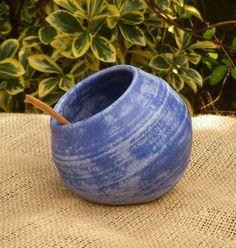 Salt pig salt cellar hand thrown stoneware ceramic pottery with an acacia wood spoon