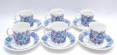 Fab Vintage Elizabethan Bone China Portobello Pattern Coffee Cups & Saucers x 6 #MidCenturyModern #CupsSaucers