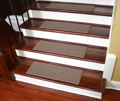Dean Non-Slip Tape Free Pet Friendly Stair Gripper DIY Carpet Stair Treads/Rugs x - Color: Pink Plush, American Made Top Quality Stair Tread Rugs, Carpet Stair Treads, Carpet Stairs, Stair Risers, Hall Carpet, Brown Carpet, Beige Carpet, Diy Carpet, Carpet Ideas