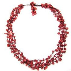 Coral Strand Red Beauty Multistrand Necklace (Thailand)   Overstock.com Shopping - Great Deals on Necklaces
