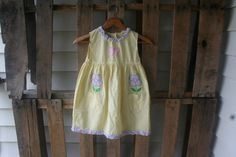 Vintage White & Yellow Gingham Floral Dress Size 6x by by vintapod