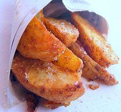 Spicy, Super-Crunchy Garlic Potato Wedges with Roast Pepper Dip