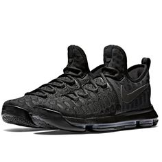 f6a84f2958e Nike KD 9 Mens Basketball Shoes 10 Triple Black Anthracite 843392 001  Nike   BasketballShoes