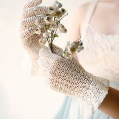 vintage ivory crocheted gloves wedding bridal by whichgoose
