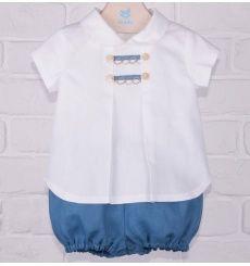 Conjunto camisa y ranita azulon en lino