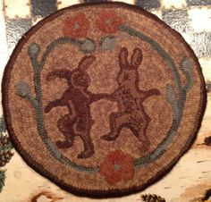Rug Hooking Pattern for Dancing Rabbits Chair Pad, on Monks Cloth or Primitive Linen, P108 by PrimitivesByCarolRae on Etsy https://www.etsy.com/listing/213621894/rug-hooking-pattern-for-dancing-rabbits