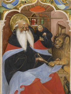 St Jerome Extracting a Thorn from a Lion's Paw, Master of the Murano Gradual; the lion became one of St Jerome's symbolic attributes; (J Paul Getty Museum) St Jerome, Lion Paw, Getty Museum, Fine Art Prints, Canvas Prints, Illuminated Manuscript, 15th Century, Ancient Art, Middle Ages