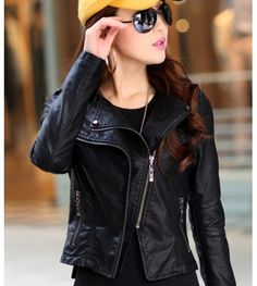Black Lapel Rivet PU Leather Zipper Jacket