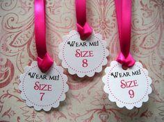 75 Custom Printed Flip Flops or Dancing Shoes Favor Tags with Ribbon by WeddingsBySusan, www.weddingsbysusan.etsy.com