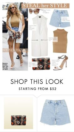 """""""Steal Her Style-Beyonce"""" by kusja ❤ liked on Polyvore featuring Topshop, Manolo Blahnik, Gucci, Oliver Peoples, Beyonce, topshop, Stealherstyle and celebstyle"""
