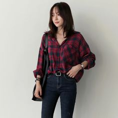 Cheap vetement fashion femme Buy Quality vetement femme directly from China plaid shirt women Suppliers: Blusas y Camisas Mujer Casual Plaid Shirt Wo Fashion 90s, Korean Girl Fashion, Korean Fashion Trends, Korean Street Fashion, Ulzzang Fashion, Look Fashion, Fashion Outfits, Cheap Fashion, Fashion Fall
