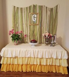 Ombre Ruffled Yellow Tablecloth-Spring and Easter by MyHauteStuff