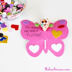 These super easy butterfly Valentines are a great project with the kids. Semi-homemade and semi-kid made. And made from Dollar Tree items, they are also super cheap! Valentines Puns, Valentines Baking, Valentines Sweets, Valentine Day Love, Valentine Day Crafts, Valentine Ideas, Easy Crafts For Kids, Crafts To Make, Heart Day