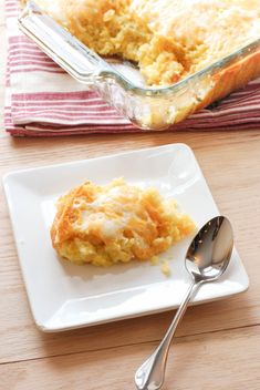 Cheesy Corn Casserole Just made this last night, but with 4 eggs and frozen corn. DELICIOUS!!!!!!!