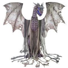 OFF or FREE SHIP -Winter Dragon Animated Prop :: Beware, Winter has arrived - and it looks hungry! The Winter Dragon is a magnificent tall animated figure featuring molded-plastic head, neck, chest and legs, with matching draped-fabric wings. Dragon Halloween, Halloween Masks, Easy Halloween, Vintage Halloween, Halloween Stuff, Halloween Party, Halloween House, Spirit Halloween, Halloween 2020