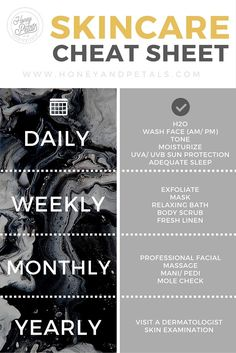 How often should you wash your face? How often should you exfoliate? What about daily moisturizing? Check out our skincare cheat sheet!
