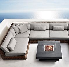 """RH-Majorca Classic Customizable Sectional-can get in white & other colors (seat depth 27"""") $3644  or Lux (seat depth 33"""") $4726 -available in grey wicker only, cushions in Sunbrella Canvas-White"""