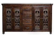 Alverstone Credenza -  Iron details on the doors give this remarkable piece a striking presence. With four drawers and two doors on each side, this credenza provides a beautiful place to store small items.  79''W x 21''D x 48''H; OneKingsLane.com  $1,599.00