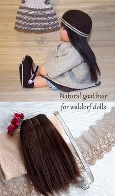 Mohair weft wavy curly & straight Hair for dolls by DollsForKids. Natural goat hair in tress. DIY & Crafts dolls. Hair for making doll wigs, Art dolls, Blythe doll, BJD, Monster High, Barbie and Fashion Royalty  #interiordoll #naturalhair #dollmaking Doll Wigs, Doll Hair, Doll Making Tutorials, Doll Makeup, Hair Weft, Waldorf Dolls, Synthetic Hair, Blythe Dolls, Monster High