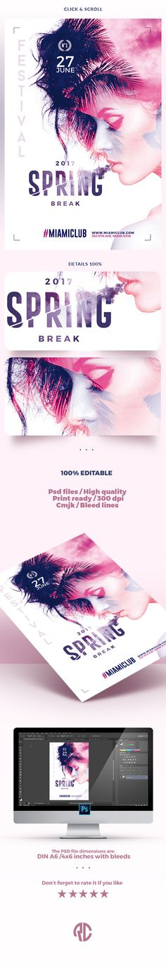New ! Exclusive Template, Very easy to Edit and Creative Design perfect to promote your Spring & Summer Party ! #spring #template #flyer #party #creativemarket