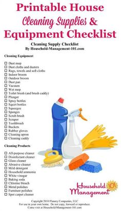 Free printablehouse cleaning supplies and equipment checklist, so you know exactly what types of cleaning products and tools to stock in your home {courtesy of Household Management # cleaning supplies list House Cleaning Checklist, Cleaning Companies, House Cleaning Services, Deep Cleaning Tips, Household Cleaning Supplies, Cleaning Business, Car Cleaning, Cleaning Solutions, Spring Cleaning