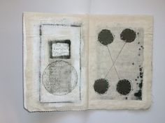 Ifigeneia Sdoukou/ Unique artist book , textile linen, cotton thread, acrylic color, ink, pencil.