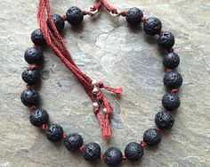 Rough, organic lava stone bracelet, carefully hand knotted with burgundy thread. Can be used as mala bracelet stones). Yoga Bracelet, Stone Bracelet, Healing Stones, Beaded Bracelets, Gemstones, Beads, My Love, Etsy, Jewelry